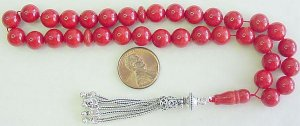 Islamic Prayer Beads OXBLOOD RED CORAL Worry Beads