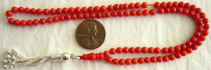 ISLAMIC PRAYER BEADS 99 OXBLOOD CORAL & STERLING - MINI