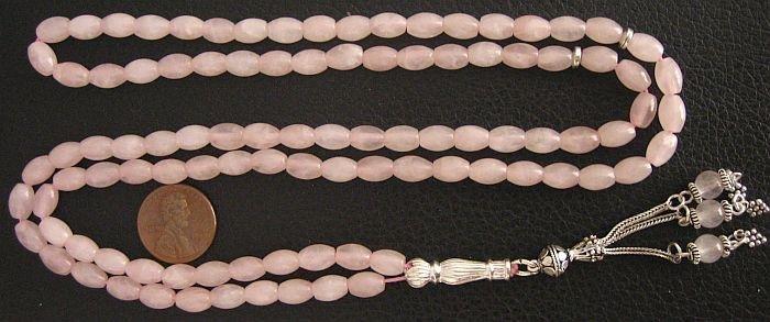 Islamic Prayer Beads 99 ROSE OVAL QUARTZ  & STERLING