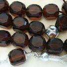 GREEK KOMBOLOI VINTAGE LUCITE DARK AMBER AND STERLING