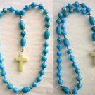 ANGLICAN EPISCOPAL ROSARY STREAKED TURQUOISE & STERLING
