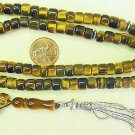 ISLAMIC PRAYER BEADS 99 BARREL CUT TIGER EYE & STERLING