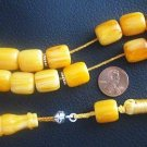 GREEK KOMBOLOI WORRY BEADS AMBER CUT BARREL+STERLING