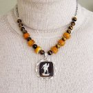 BUTTERSCOTCH AMBER,TIGER EYE & STERLING CAMEO NECKLACE
