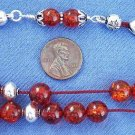 GREEK KOMBOLOI REDDISH BALTIC AMBER & STERLING SILVER