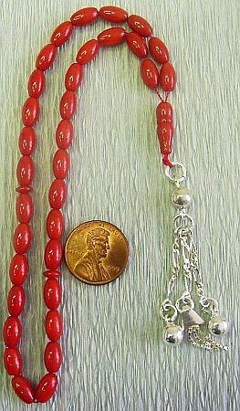 Islamic Prayer Beads : RED CORAL -by Tesbihci