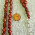 ISLAMIC PRAYER BEADS: RED JASPER & STERLING-by Tesbihci