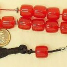 KOMBOLOI WORRY BEADS RED FATURAN CUT BARREL +STERLING