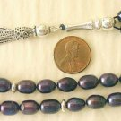 PRAYER BEADS KOMBOLOI PEACOCK BLUE PEARLS & STERLING