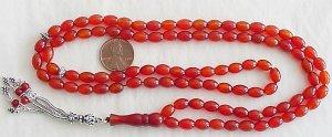 Islamic Prayer Beads 99 OVAL CARNELIAN  by Tesbihci
