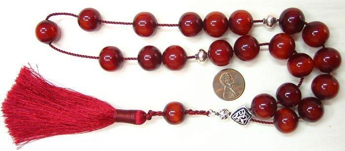 GREEK KOMBOLOI TIBETAN RED COPAL AMBER STERLING SILVER
