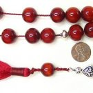 GREEK KOMBOLOI TIBETAN RED COPAL AMBER STERLING SILVER