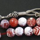 GREEK KOMBOLOI FIRE CRACKLED AGATE & STERLING