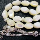 PRAYER BEADS SUBHA TESBIH MOTHER OF PEARL & STERLING