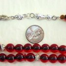 WORRY PRAYER BEADS ROUND TRANSPARENT RED