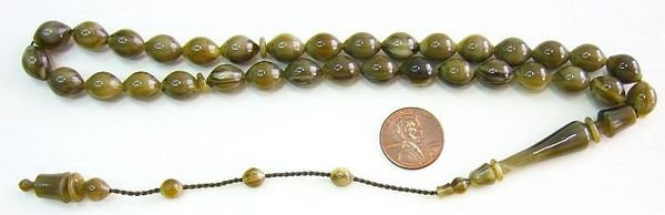 PRAYER BEADS SANDALOUS TURKISH AMBER SUFI STYLE CARVING