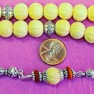 GREEK KOMBOLOI STERLING AND ANTIQUE BONE WORRY BEADS
