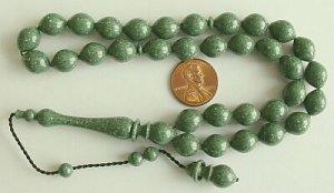 PRAYER BEADS ISLAM MARBLED GREEN GALALITH-Tesbihci