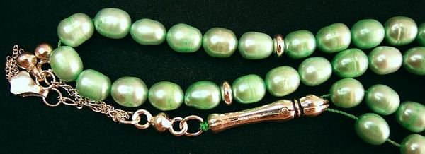 PRAYER BEADS KOMBOLOI TASBIH SOFT GREEN PEARLS STERLING