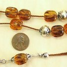 GREEK KOMBOLOI VINTAGE CARVED AMBER  BEADS RRR