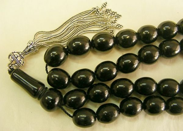 ISLAMIC PRAYER BEADS TURKISH LARGE OVAL OLTU (JET)