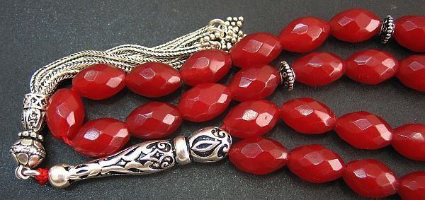 PRAYER WORRY BEADS TESBIH THAI FACETED RUBY & STERLING