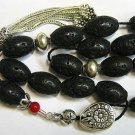 KOMBOLOI WORRY BEADS BLACK LAVA RED CORAL & STERLING