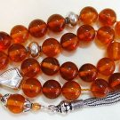 GREEK KOMBOLOI HONEY AMBER ROUND BEADS & STERLING
