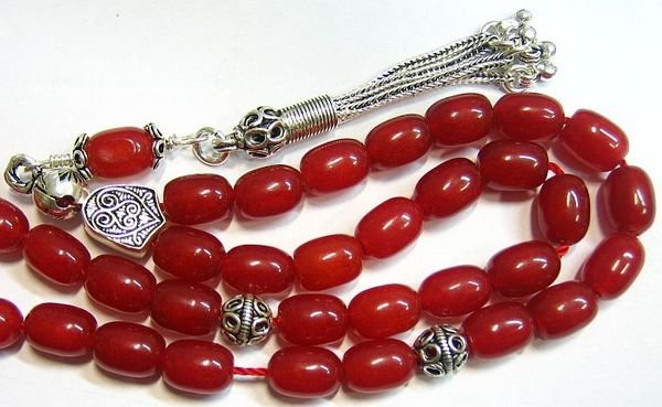 GREEK KOMBOLOI WORRY BEADS RED RUBILITE AND  STERLING