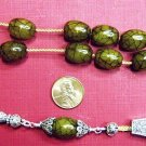 GREEK KOMBOLOI RARE GREEN AMBER AND  STERLING