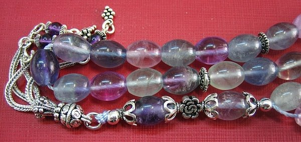 PRAYER BEADS TESBIH KOMBOLOI OVAL FLUORITE & STERLING