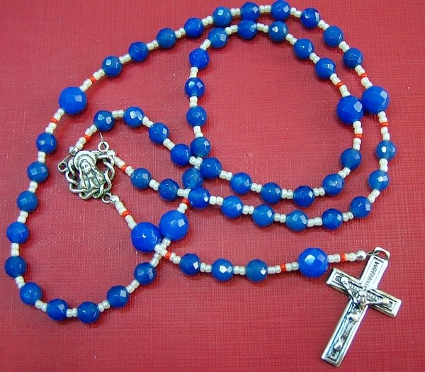 CATHOLIC ROSARY FACETED BLUE AGATE & STERLING