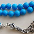 GREEK KOMBOLOI STERLING AND TURQUOISE WORRY BEADS