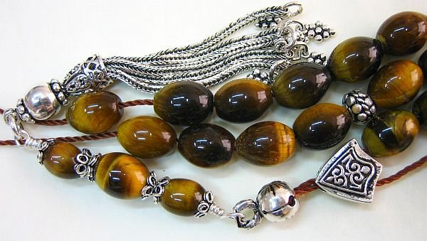 GREEK KOMBOLOI WORRY BEADS OVAL TIGER EYE & STERLING
