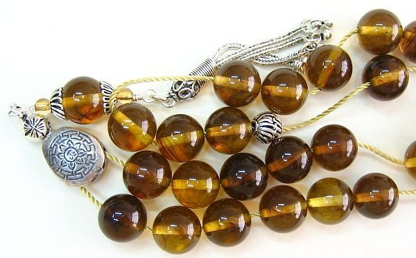 GREEK KOMBOLOI COGNAC AMBER ROUND BEADS & STERLING