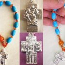 CATHOLIC ROSARY CHAPLET TURQUOISE CARNELIAN & STERLING