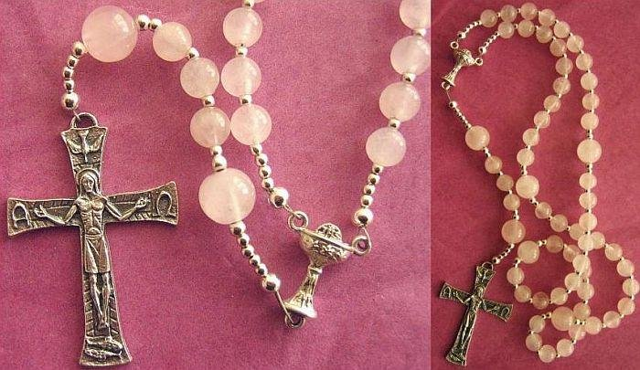 CATHOLIC ROSARY PRAYER BEADS ROSE QUARTZ & STERLING