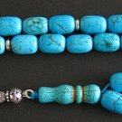 PRAYER BEADS TESBIH KOMBOLOI BARREL TURQUOISE STERLING