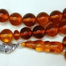 PRAYER BEADS TESBIH HONEY AMBER ROUND BEADS & STERLING