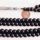 ISLAMIC PRAYER BEADS PLAIN ROUND 99 JET -OLTU- STONE