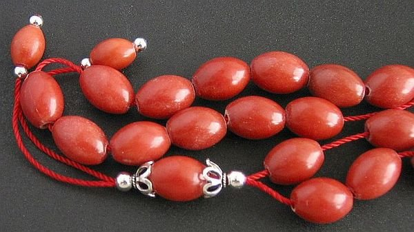 GREEK KOMBOLOI RED MARBLE & STERLING