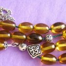 GREEK KOMBOLOI GOLDEN AMBER OVAL BEADS & STERLING