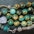 GREEK KOMBOLOI WORRY BEADS VARISCITE & STERLING