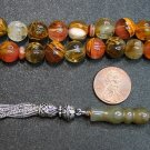 PRAYER BEADS KOMBOLOI CARVED VOLCANO QUARTZ & STERLING