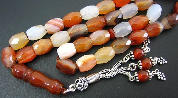 PRAYER BEADS TESBIH KOMBOLOI FACETED BANDED AGATE
