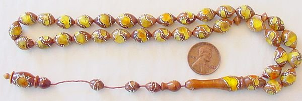 Islamic Prayer Beads KUKA STERLING STUD AND AMBER INLAY
