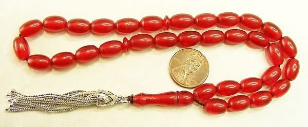 PRAYER BEADS TESBIH VINTAGE MISKETA POMMEGRENADE COLOR