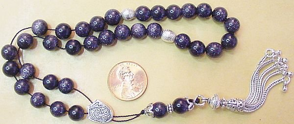 MARINE GOLDSTONE SILVER GREEK KOMBOLOI WORRY BEADS