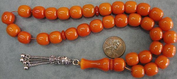 PRAYER BEADS KOMBOLOI SQUARE BARREL DEEP ORANGE FATURAN