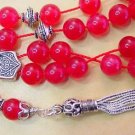 RED JADE STERLING GREEK KOMBOLOI WORRY BEADS